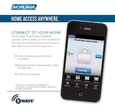 Schlage Z-Wave Home Keypad Lever, Satin Nickel, FE599NX CAM 619 ACC 619, Works with Alexa via SmartThings,
