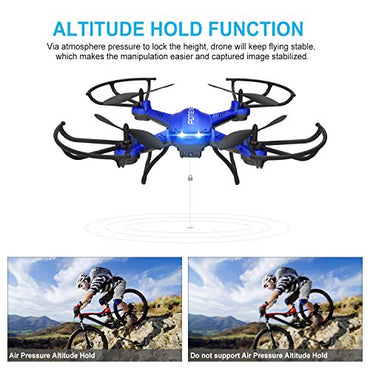 Drone with Camera, Potensic F181DH 5.8GHz RC Drone Quadcopter With 720P HD Live Camera RTF Altitude Hold UFO & Newest Hover Function,5.8Ghz FPV LCD Screen Monitor(Blue)