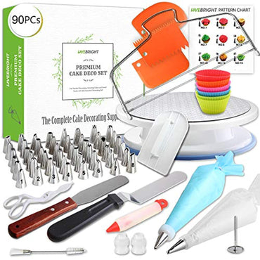 90 Pcs Cake Decorating Supplies Set | Turntable Stand | 48 Numbered Cone Tips and more