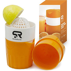 Manual Lid Rotation Citrus Juicer, Lemon, Orange, Tangerine & Lime Juice Squeezer: Press & Squeeze Fruits Easily! Professional Portable Presser w/ Pulp Filter & Cup, Squeezing Plastic Kitchen Tool