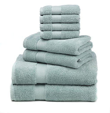 "Premium 100% Cotton 8-Piece Towel Set (2 Bath Towels 30"" X 52"", 2 Hand Towels 16"" X 28"" and 4 Washcloths 12"" X 12"") - Natural, Soft and Ultra Absorbent (Duck Egg)"