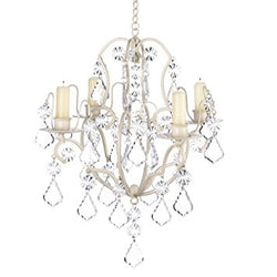 Gifts & Decor Ivory Baroque Candle Chandelier, Iron and Acrylic