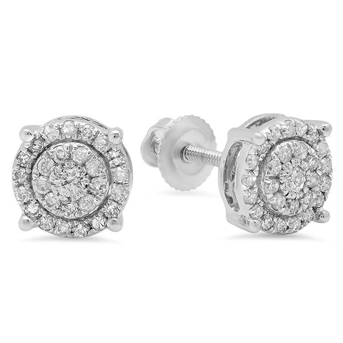 0.35 Carat (ctw) 10k White Gold Round Cut White Diamond Ladies Circle Halo Stud Earrings