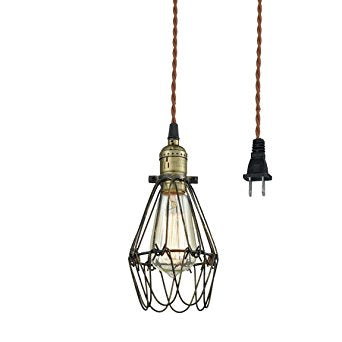 CLAXY Ecopower Industrial Opening and Closing Plug-in Pendant Lighting Wire Cage Lamp Guard Fixture