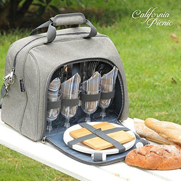 Picnic Basket Tote | Picnic Shoulder Bag Set | Stylish All-in-One Portable Picnic Bag for 4 with Complete Cutlery Set | Salt/Pepper Shakers | Cheese Board | Cooler Bag for Camping | Insulated Tote Ba