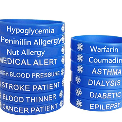 Blue Silicone Rubber Medical Awareness Alert Bracelet