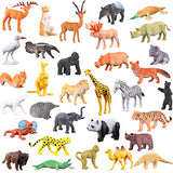 Animals Figure,54 Piece Mini Jungle Animals Toys Set,ValeforToy Realistic Wild Vinyl Pastic Animal Learning Party Favors Toys For Boys Girls Kids Toddlers Forest Small Farm Animals Toys Playset