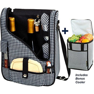 Picnic at Ascot Original Wine and Cheese Tote for 2 with Matching Cooler - Designed & Assembled in California