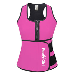 FeelinGirl Neoprene Sauna Suit Tank Top Vest with Adjustable Waist Trimmer Belt (See The Size Chart)