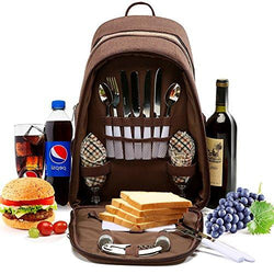 YONOVO 2 Person Picnic Backpack Bag with Insulated Cooler Compartment, Plates and Cutlery Set Perfect for Outdoor, Sports, Hiking, Camping (Brown)