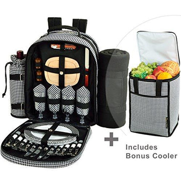 Picnic at Ascot Original Equipped Backpack for 4 with Blanket - Extra Bonus Cooler - Designed & Assembled in California