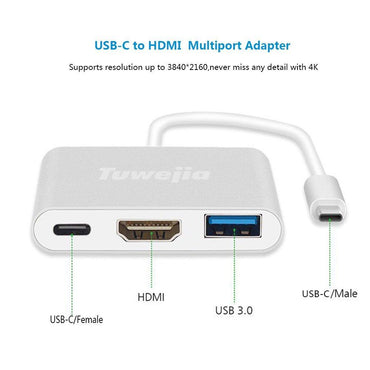 USB C Adapter Tuwejia TYPE C To HDMI 4K+USB 3.0+USB-C Converter Cable Charging Port Adapter Cable with Large Projection for MacBook/Chromebook Pixel/Sumsang Galaxy S8/S9/Yoga 900/Lumia 950Xl