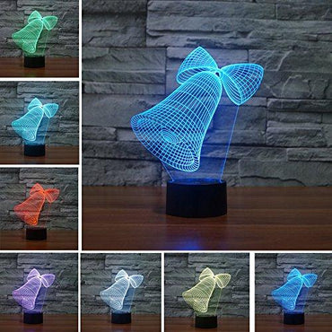 YANGHX Jingle bell Christmas bell 3D Desk light 7 Colors Acrylic Illusion Bedroom Night Lamp (Color: Multicolor)