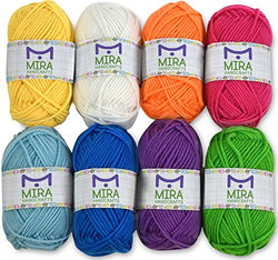 8 Acrylic Rainbow Color Yarn Bonbons - 10 Gifts Included with Each Pack - Resealable Bag - Total of 525 yards Hobby Yarn - Premium Yarn Pack - Crafts Kit for Crochet and Knitting