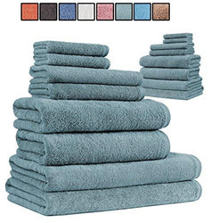 SALBAKOS Giallo 16 Piece Turkish Hotel Collection Bath Towel Set, Sage