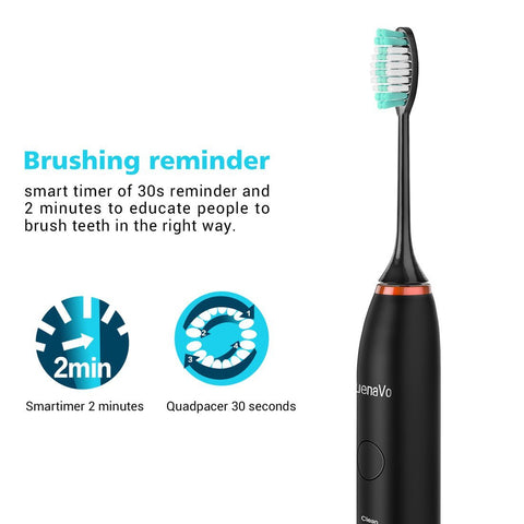 BuenaVo Sonic Electric Rechargeable Toothbrush with Piano Paint Surface, 5 Adjustable Modes for Different Tooth Condition IPX7 Full Body Washable- 2 Repalcement Heads...