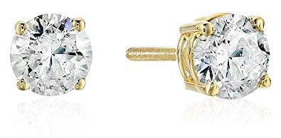 14k Yellow Gold Diamond with Screw Back and Post Stud Earrings(K-L Color, I2 Clarity)