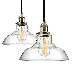 2-Pack Pendant Light Hanging Glass Ceiling Mounted Chandelier Fixture, Modern Industrial Edison Vintage Style
