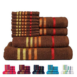 Casa Copenhagen Exotic Cotton 475 GSM 12 Pieces Designer Bath, Hand & Washcloth Towels Gift Set - Brown