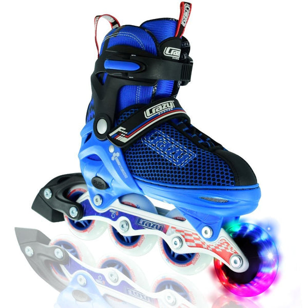 Crazy Skates Boy's LED Adjustable Inline Skates | Light up wheels | Adjusts to fit 4 Shoe Sizes | Blue with Mesh Boot | Pro Model 168