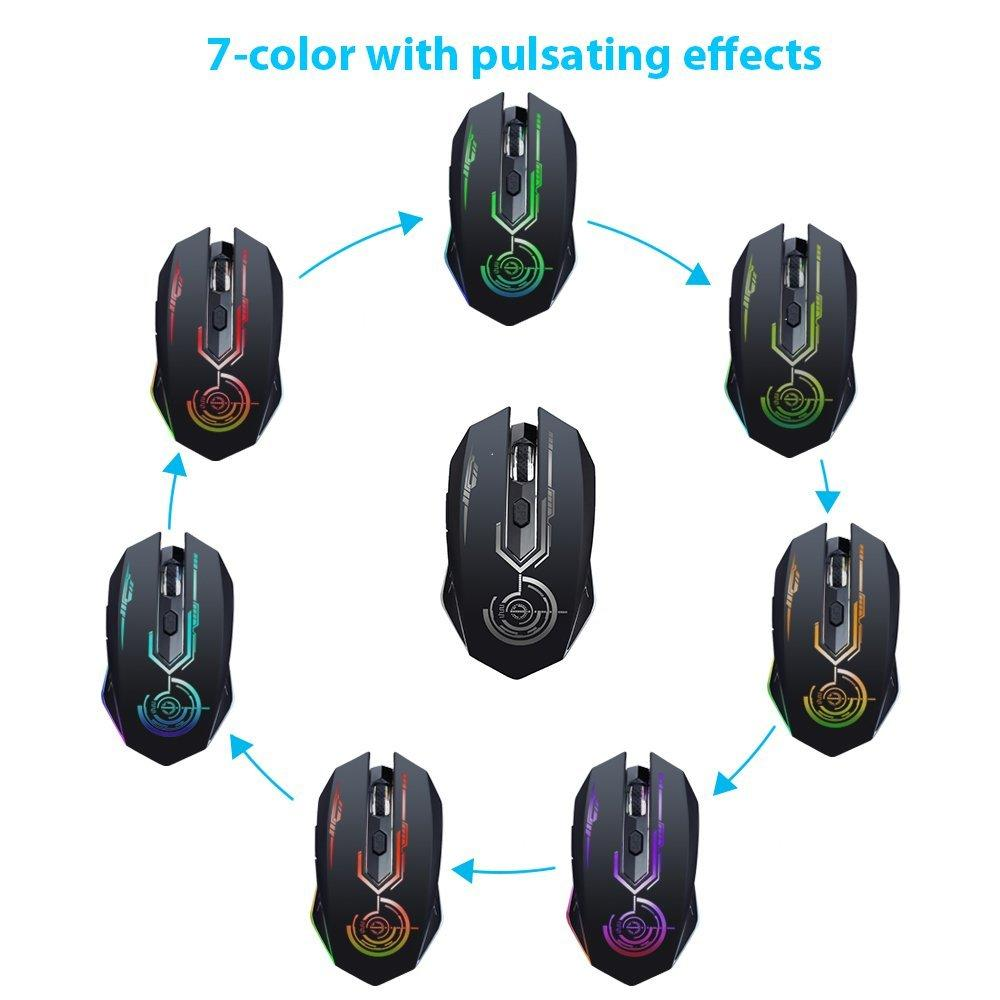 168bd6f7502 Wireless Gaming Mouse Up to 7200 DPI, UHURU Rechargeable USB Mouse with 5  Buttons 7