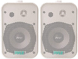 Dual Waterproof Outdoor Speaker System - 5.25 Inch Pair of Weatherproof Wall/Ceiling Mounted Speakers w/Heavy Duty Grill, Universal Mount - For Use in the Pool, Patio, Indoor - Pyle PDWR40W (White)