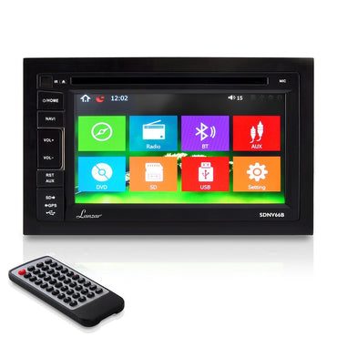 Lanzar 6.5-Inch Video Headunit Stereo Receiver | Bluetooth Wireless | CD/DVD Player | Touch Screen | AM/FM Radio | Double DIN (SDNV66B)