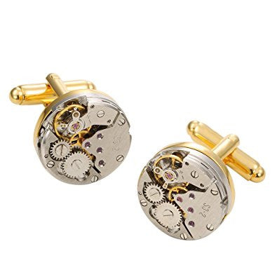 GOHUOS Vintage Steampunk Round Mechanical Cuff Links Gears Round Mechanical Cufflinks with Box