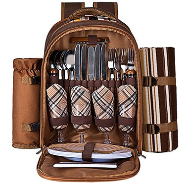 Ferlin Picnic Backpack for 4 With Cooler Compartment, Detachable Bottle/Wine Holder, Fleece Blanket, Plates and Cutlery Set