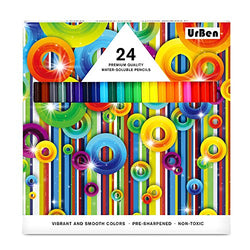 Colored Pencils UrBen Colored Pencil Set with 24 Pieces, Pre-sharpened, Great Art Tool for Kids, Students, Adults and Artists