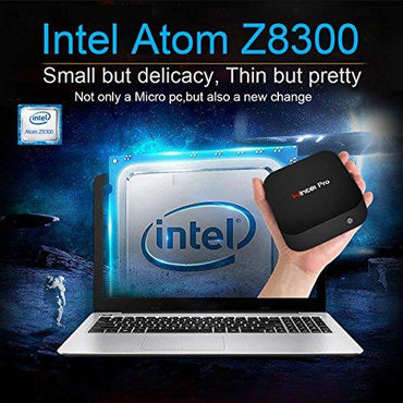 Wintel T8 Fanless Mini PC Intel Cherry Trail Z8300 Quad Core up to 1.84GHz,2GB RAM 32GB eMMC,Windows 10 Desktop Computer with Bluetooth 4.0,Buit-in Wifi,4K HD