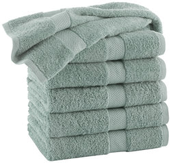 COMMERCIAL 24 PIECE WASH CLOTH  TOWEL SET BY MARTEX -  24 Wash Cloths, Home, Shower, Tub, Gym, Pool  - Machine Washable, Absorbent, Professional Grade, Hotel Quality - Aqua