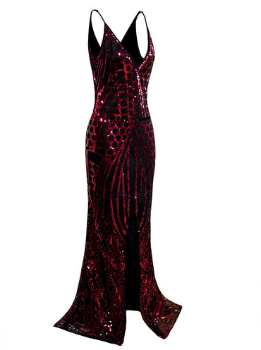 Vijiv 1920s Long Slit Prom Dresses Deep V Neck Sequin Mermaid Bridesmaid Evening Dress