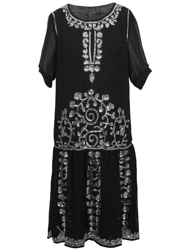 Vijiv 1920s Vintage Beaded Embellished Gatsby Flapper Party Cocktail Dress with 3/4 Sleeves