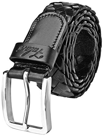 Falari Men's Braided Belt Leather Stainless Steel Buckle 35mm