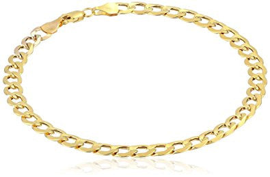 Men's 10k Yellow Gold 5mm Curb Link Bracelet, 8""