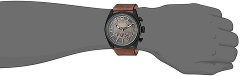 Invicta Men's Aviator Stainless Steel Quartz Watch with Leather-Calfskin Strap, Brown, 26 (Model: 22988)