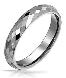 Bling Jewelry Multi Faceted Tungsten Ring Wedding Band 4mm