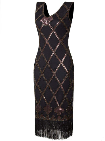 Vijiv Vintage inspired 1920s Art Deco Charleston Sequin Fringe Flapper Dress