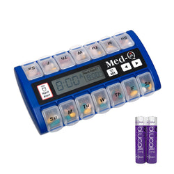 Med-Q Smart Pill Reminder with Triple Alarms and LED Alert + Two Blucoil AA Batteries - VALUE BUNDLE - Blue