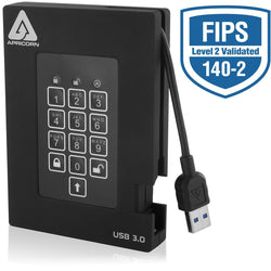 Apricorn Aegis Padlock Fortress FIPS 140-2 Level 2 Validated 256-bit Encrypted USB 3.0 Hard Drive with PIN Access, 1 TB