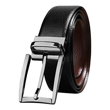 Savile Row Men's Top Grain Leather Reversible Belt - Classic & Fashion Designs