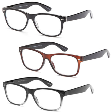 Gamma Ray Reading Glasses - 3 Pairs Spring Hinge Readers for Men and Women