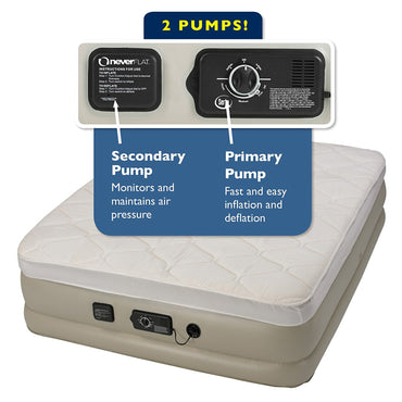 Insta-Bed Raised Air Mattress with Never Flat Pump - Queen Pillow Top
