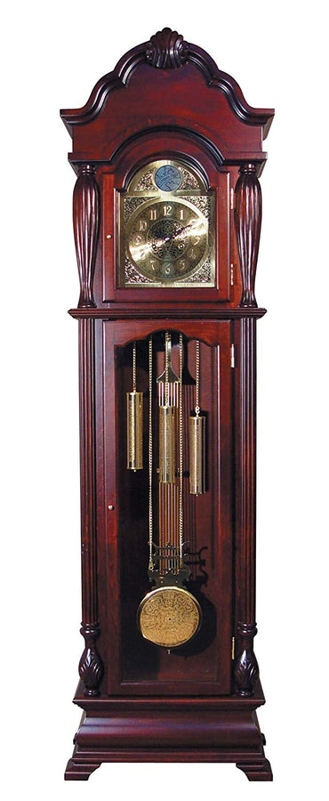 "Major-Q 9001431 77"" H Traditional Style Light Gold Analog Face Walnut Finish Grandfather Floor Clock"