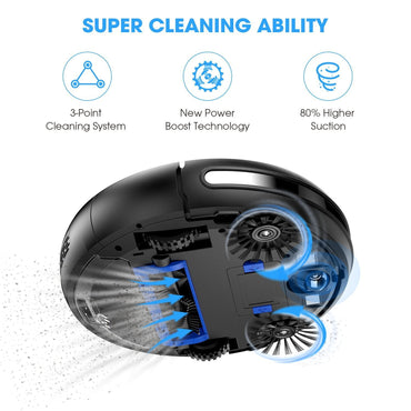 Robot Vacuum Cleaner by KOIOS – I3 80% Higher Suction Robotic Vacuum Cleaner with Self-charging & Drop-sensing Technology, HEPA Filter for Pet Fur, 2600mAH Battery Long Time Floor Cleaner