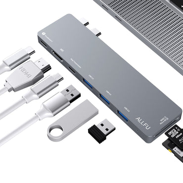"USB C Hub,Thunderbolt 3 Hub ALLFU 8-in-1 Type C Pro Hub Adapter for 2016/2017 MacBook Pro 13""and 15""Aluminum Type C 3.1 Charging Port with 4K HDMI Port, 3 USB 3.0 Ports, SD & Micro SD Card Reader"