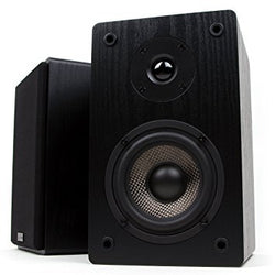 Micca MB42 Bookshelf Speakers With 4-Inch Carbon Fiber Woofer and Silk Dome Tweeter (Black, Pair)