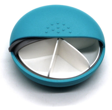 PuTwo M-square Round Portable Pill Box Mediplanner AM PM Organizers - Cyan