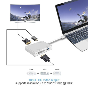 USB 3.1 Type C to HDMI Adapter, Topoint USB-C to HDMI DVI 4K VGA USB Adaptor Converter for MacBook/MacBook Pro